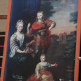 Op dit schilderij de man in het rood: Justus de Coninck, en het kleine meisje Justina Abelina